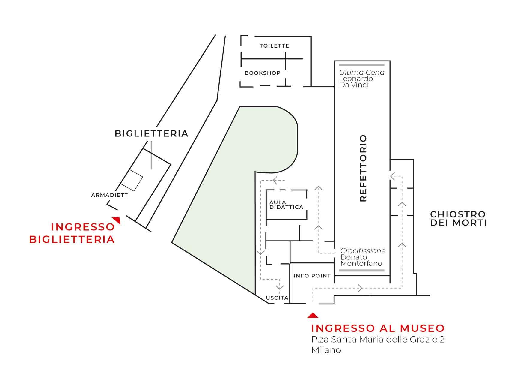 LA MAPPA DEL MUSEO DEL CENACOLO VINCIANO